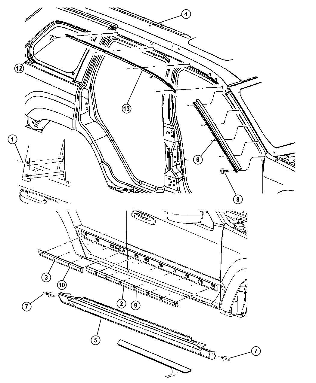 Jeep Grand Cherokee Molding Roof Left Chrome Bodyside