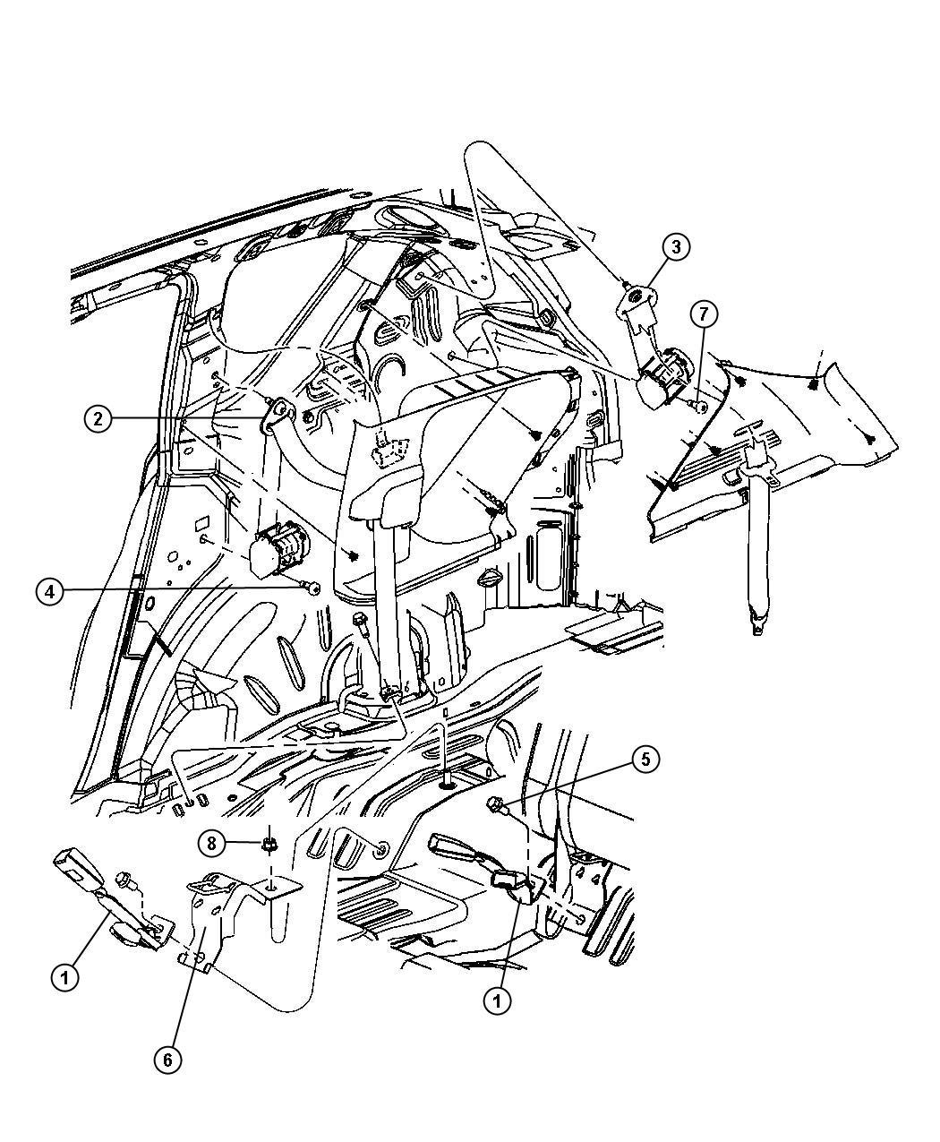 Jeep Patriot Seat Belt Rear Inner Right Ka Trim All Trim Codes Color Pastel