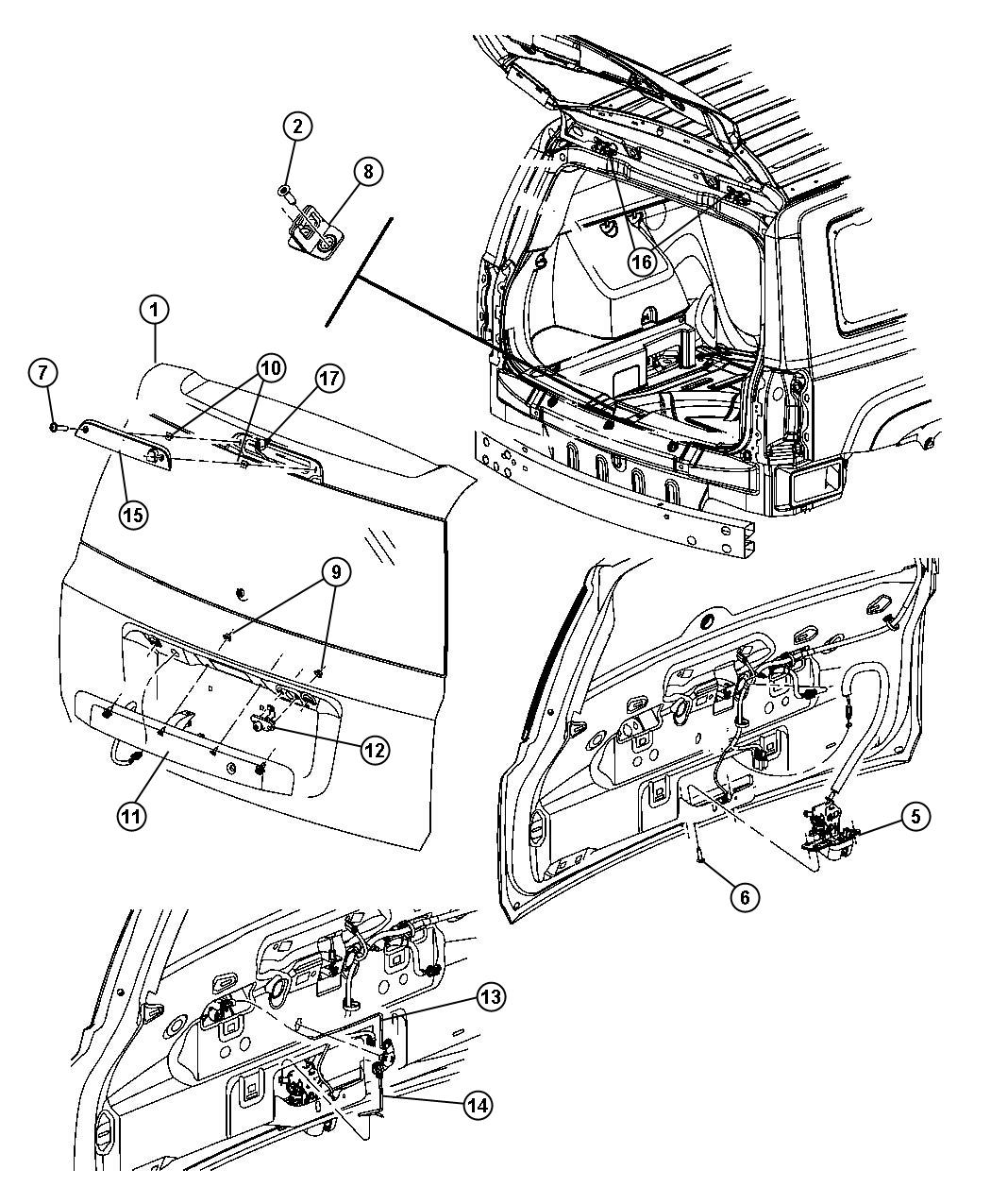 Jeep Patriot Latch Liftgate Manual Door Locks With