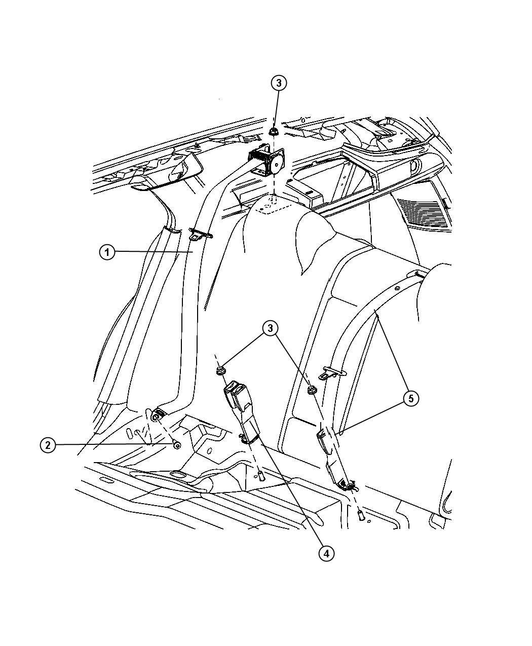 Dodge Magnum Seat Belt Rear D1 J1 Trim Leather