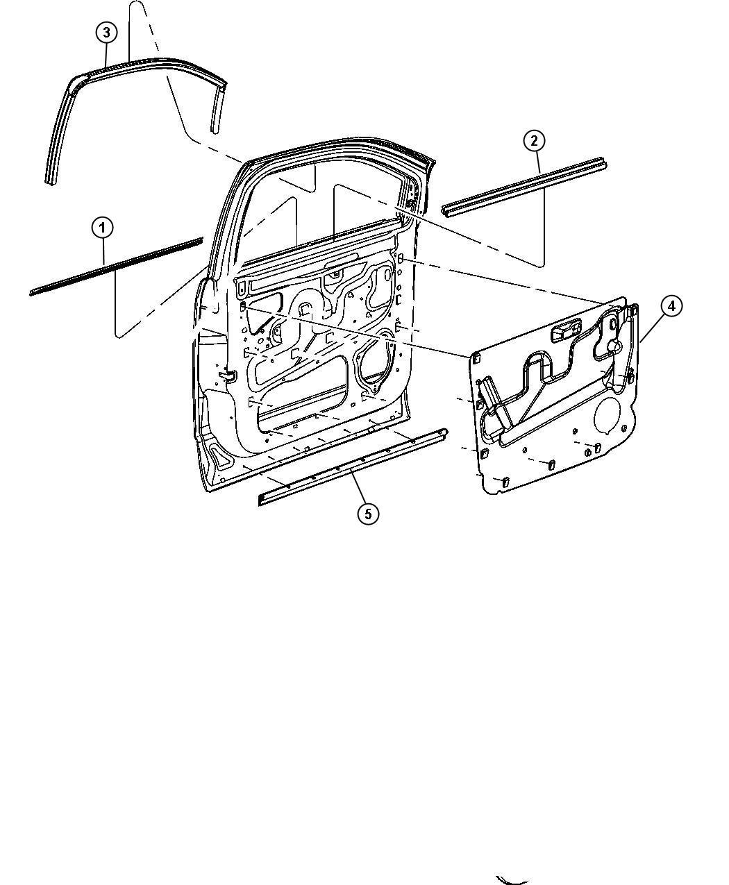 Chrysler Aspen Weatherstrip Front Door Belt Outer