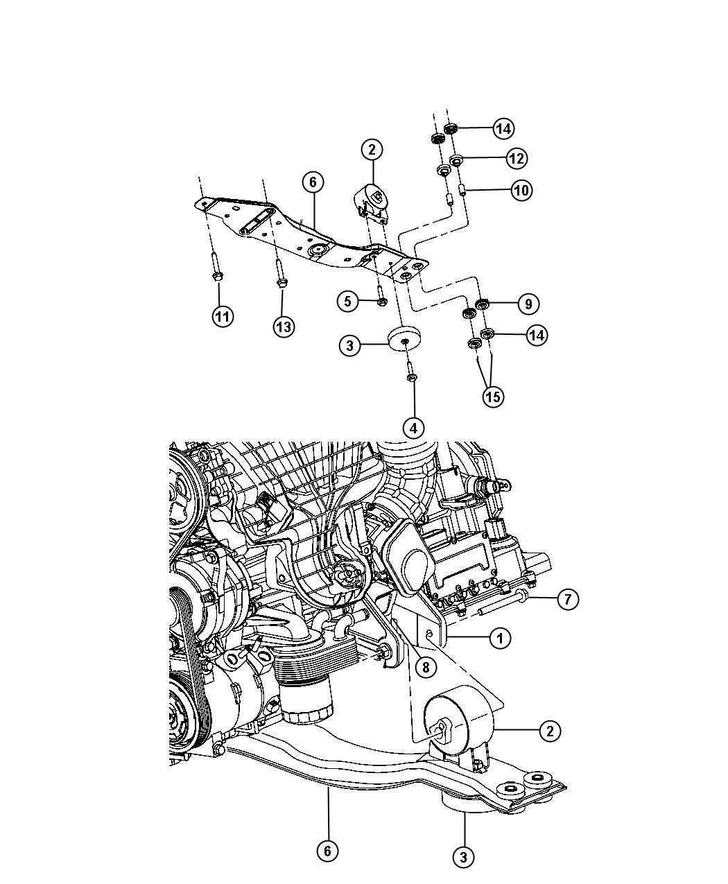 Chrysler Sebring Bushing Isolator Front Left Side 5