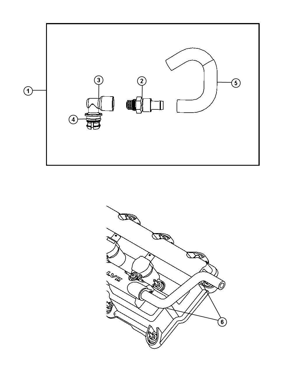 Chrysler Sebring Tube Pcv Valve Includes Hose Pcv