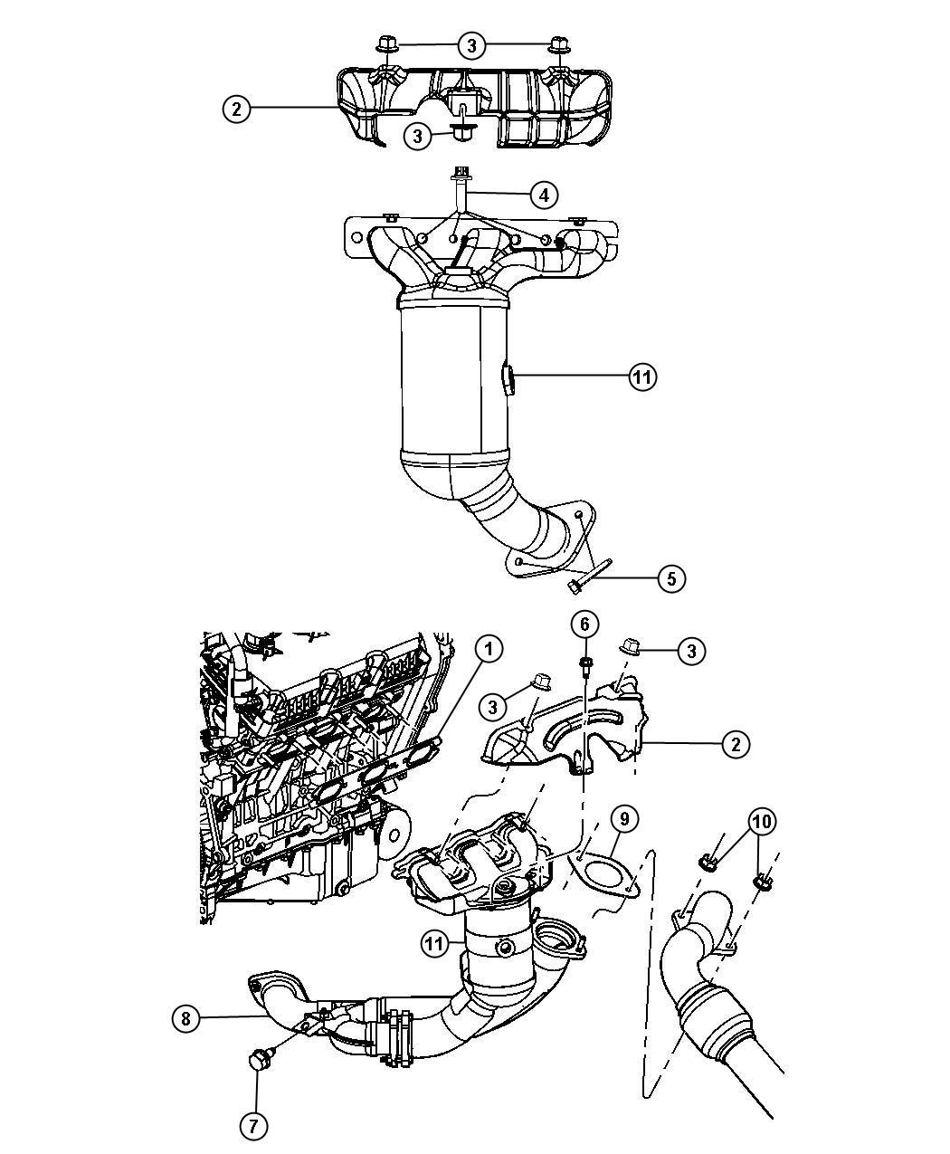 Dodge Avenger Shield Exhaust Manifold Right Right Rear Upper Upper Right
