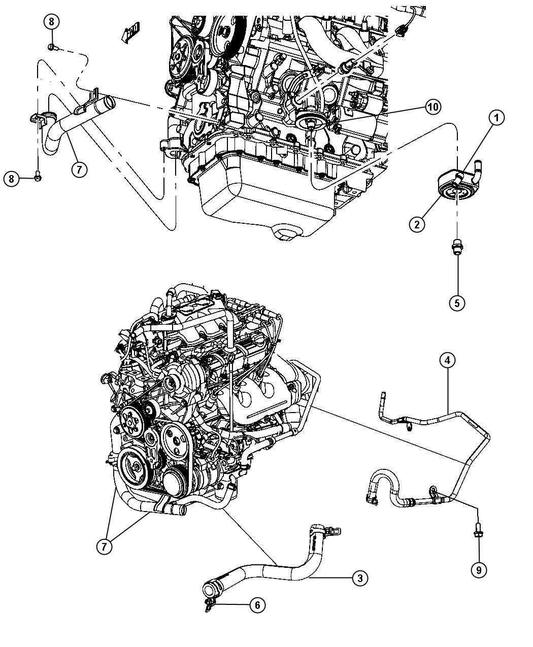Dodge Grand Caravan Hose Oil Cooler Outlet Engine