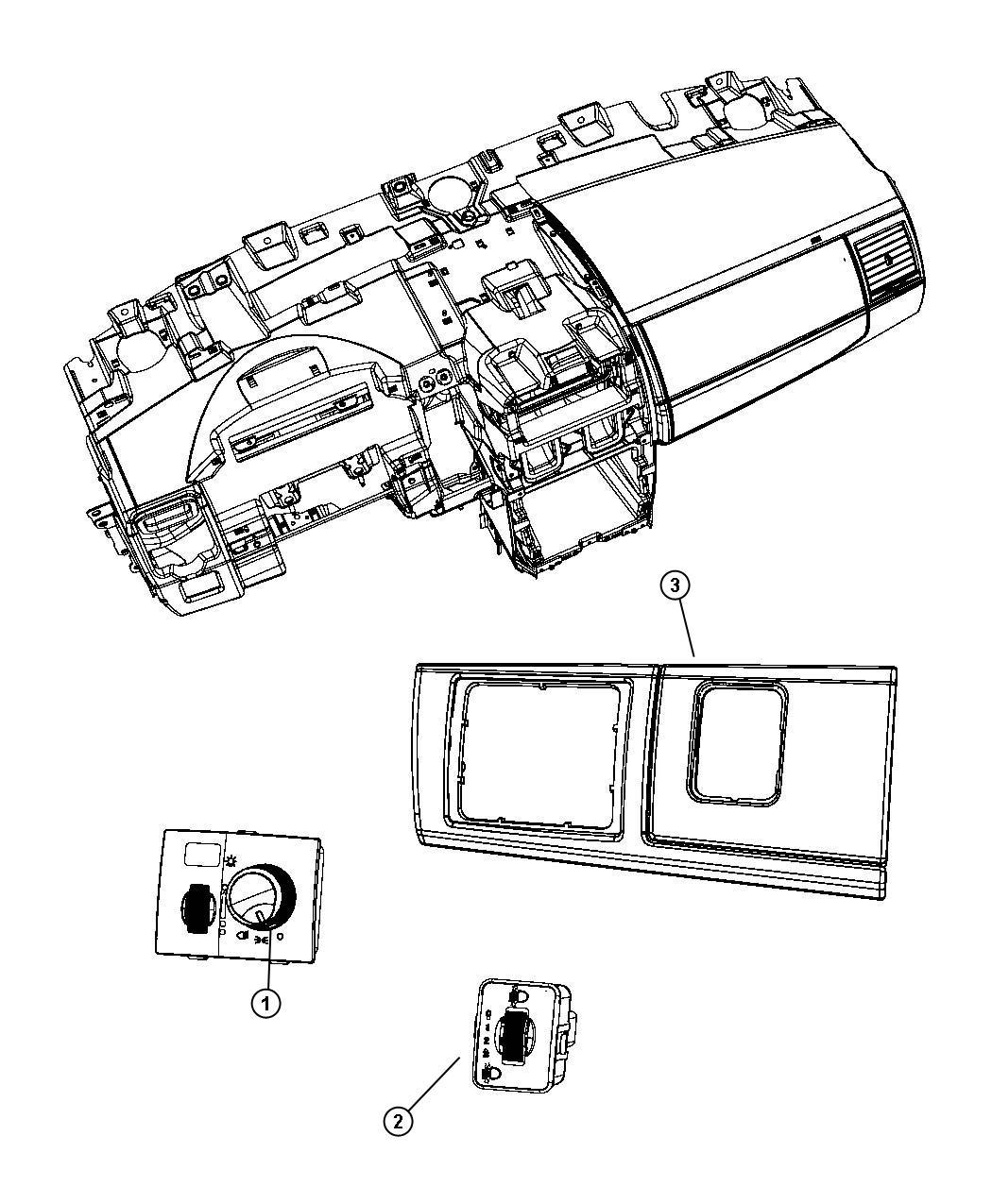 Dodge Grand Caravan Bezel Headlamp Switch Headlamp Leveling System Trim All Trim Codes