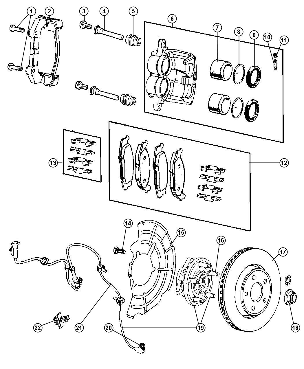 Jeep Grand Cherokee Sensor Anti Lock Brakes Front