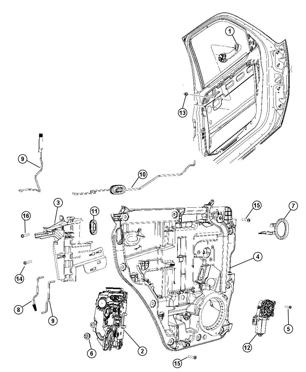 Dodge Nitro Latch Rear Door Right Module