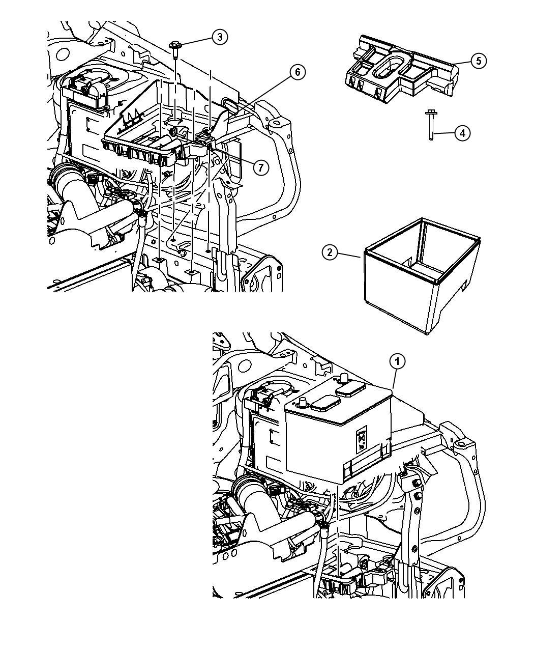 Dodge Caliber Tray Battery With Battery Retainer