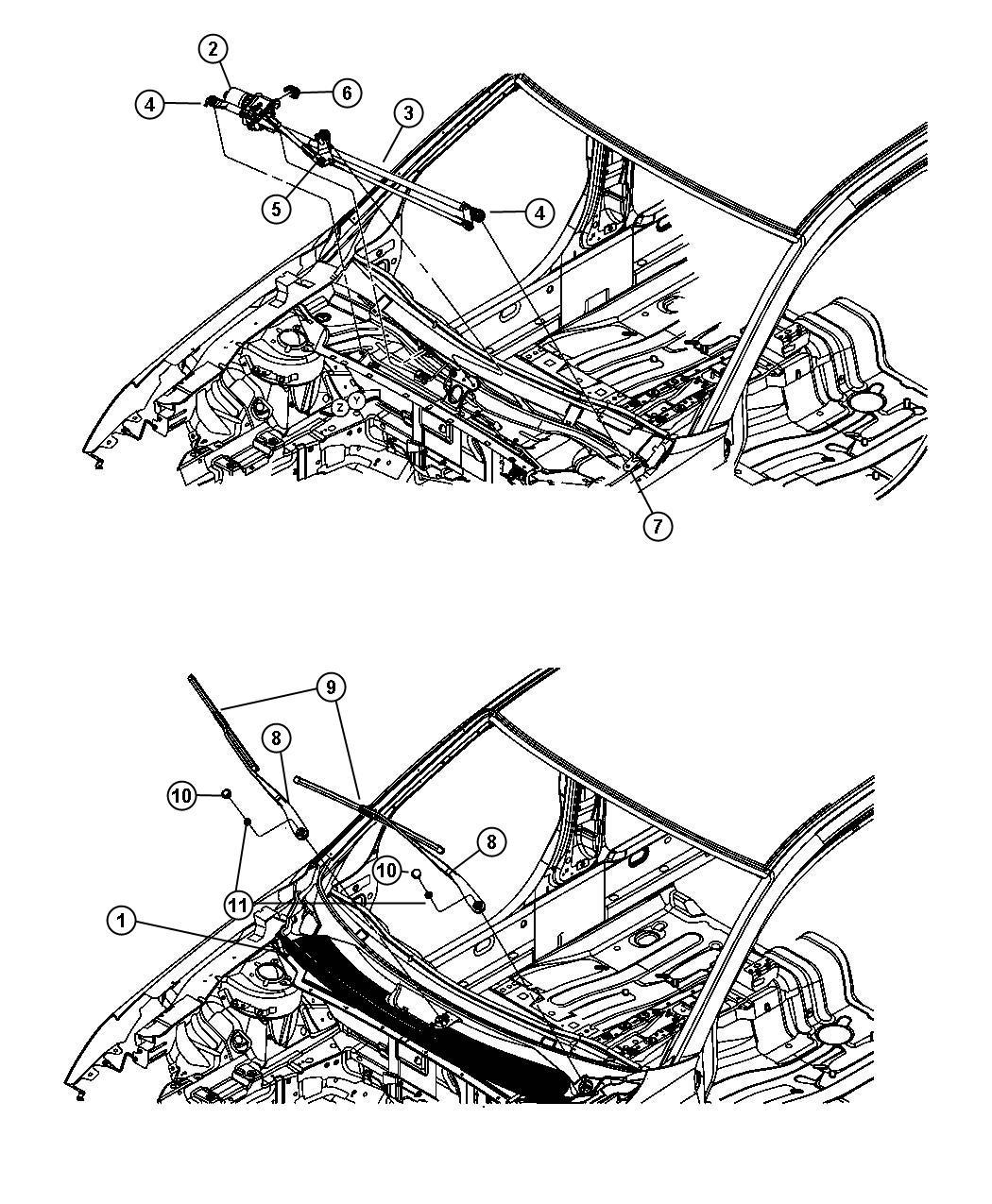 Dodge Avenger Motor Windshield Wiper System
