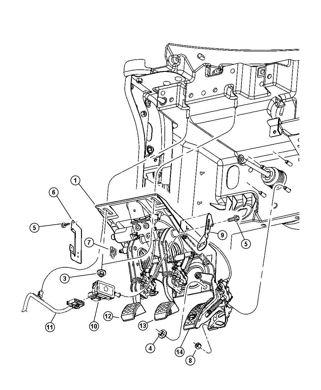 Dodge Viper Pedal Assembly Adjustable Brake