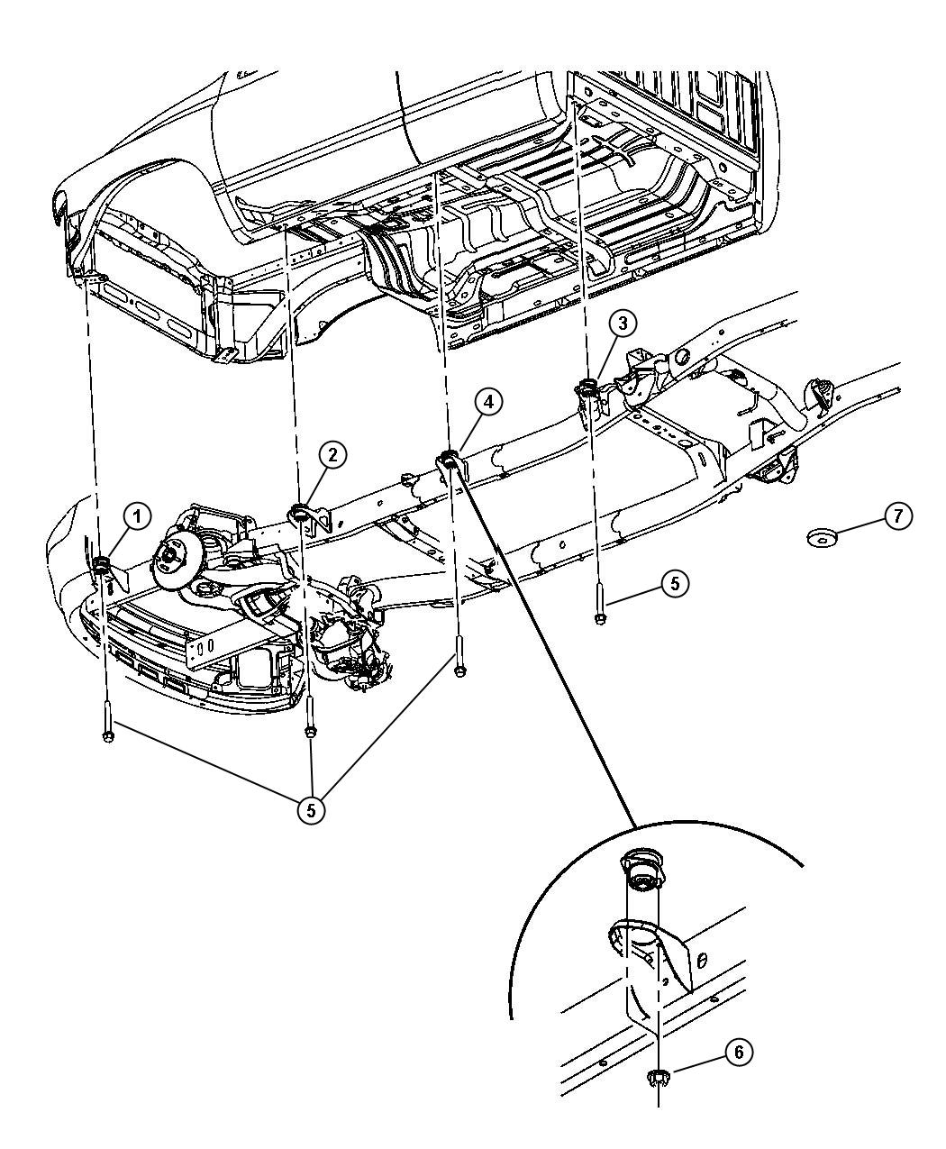 Dodge Ram Cushion Body Hold Down B Pillar Quad Load
