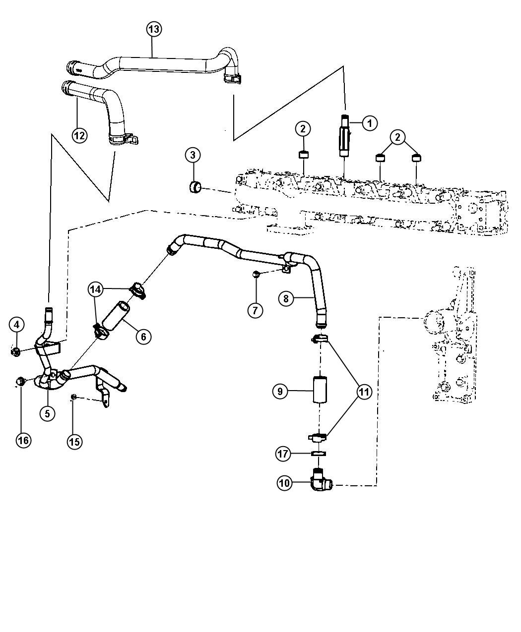 Dodge Ram Hose Heater Return Supply Air