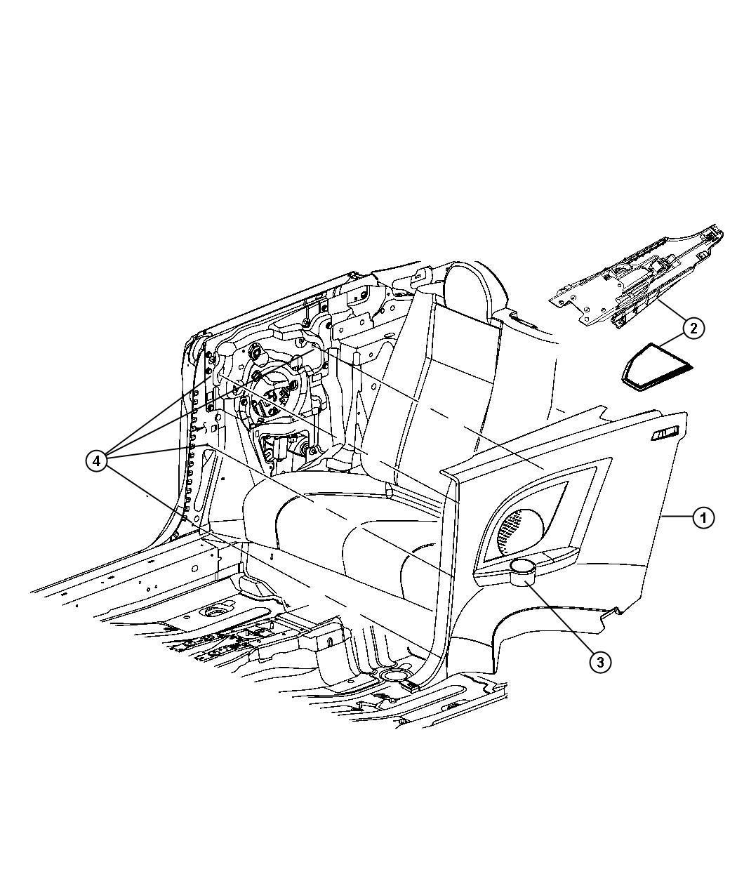 Chrysler Sebring Door Qtr Trim Access Otr Right J1 Trim All Trim Codes Color Dk