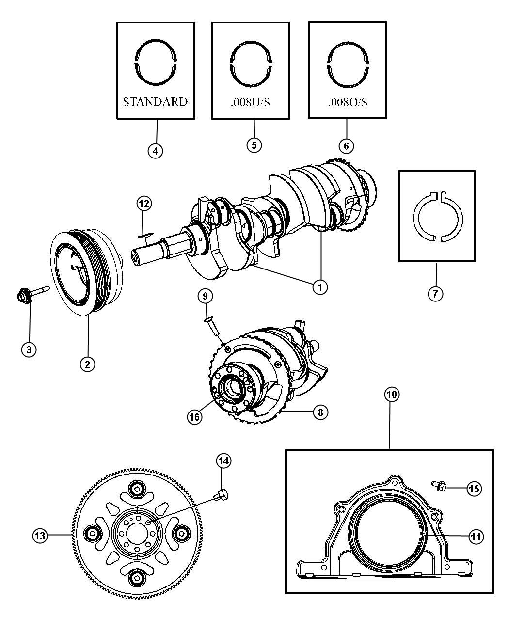 Chrysler 300 Crankshft Includes Tone Ring For Crank