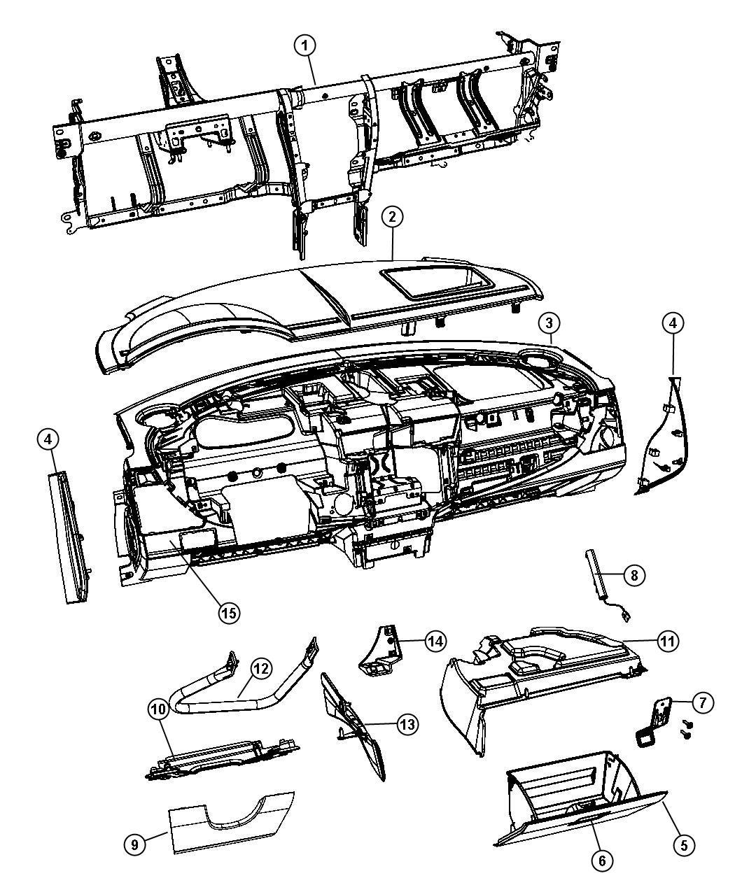 Chrysler Sebring Striker Glove Box Door Latch Export