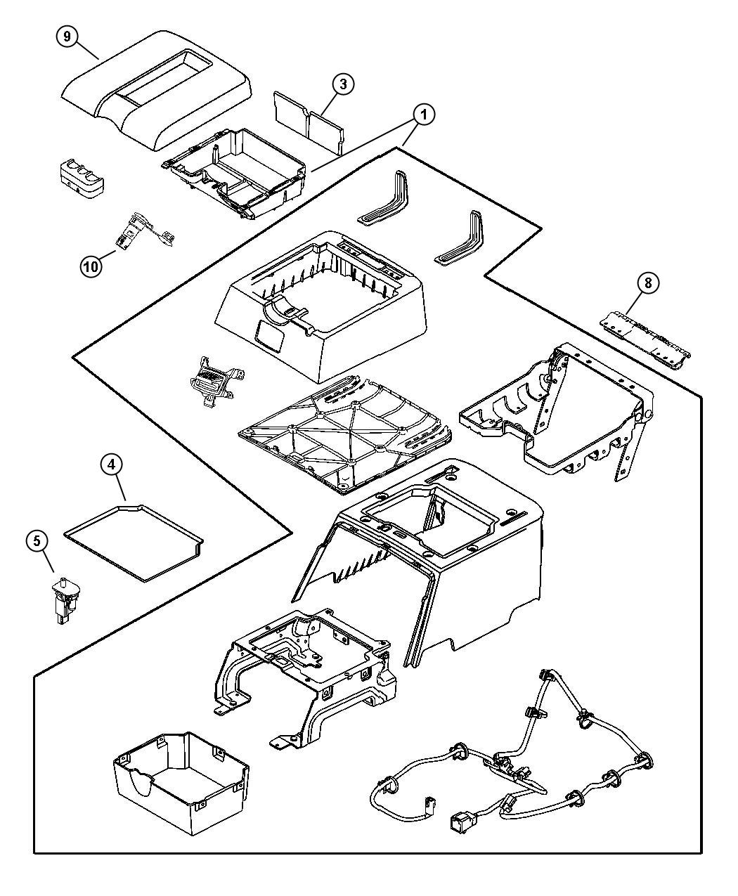 Dodge Ram Console Floor Rear D1 Trim Leather