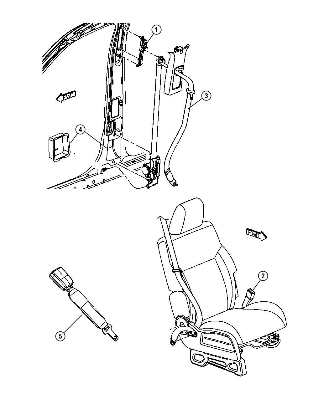 Dodge Nitro Shield Seat Belt Retractor Right Rear