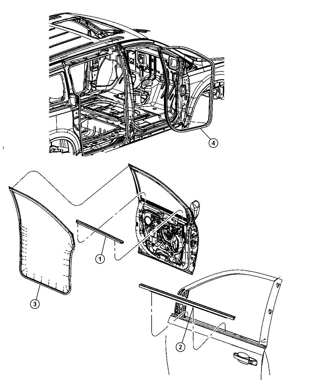 Dodge Grand Caravan Weatherstrip Front Door Belt Right