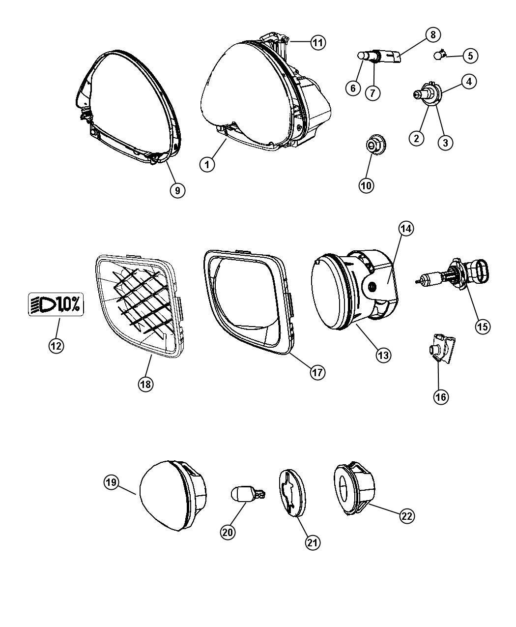 Chrysler Pt Cruiser Socket Headlamp Optics Quad