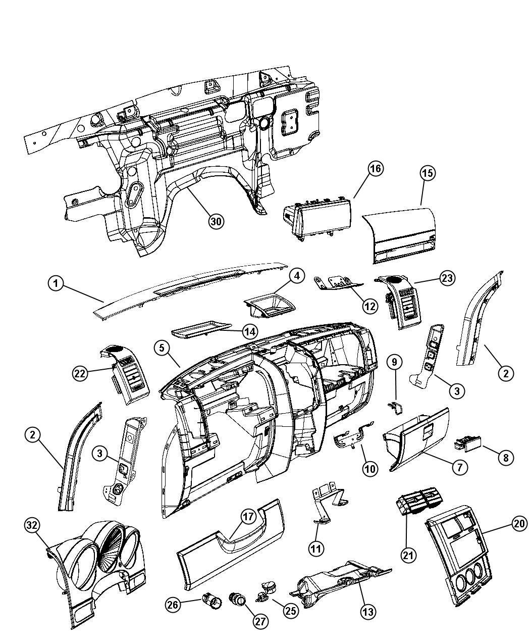 Dodge Nitro Panel Closeout Right Instrument Structure