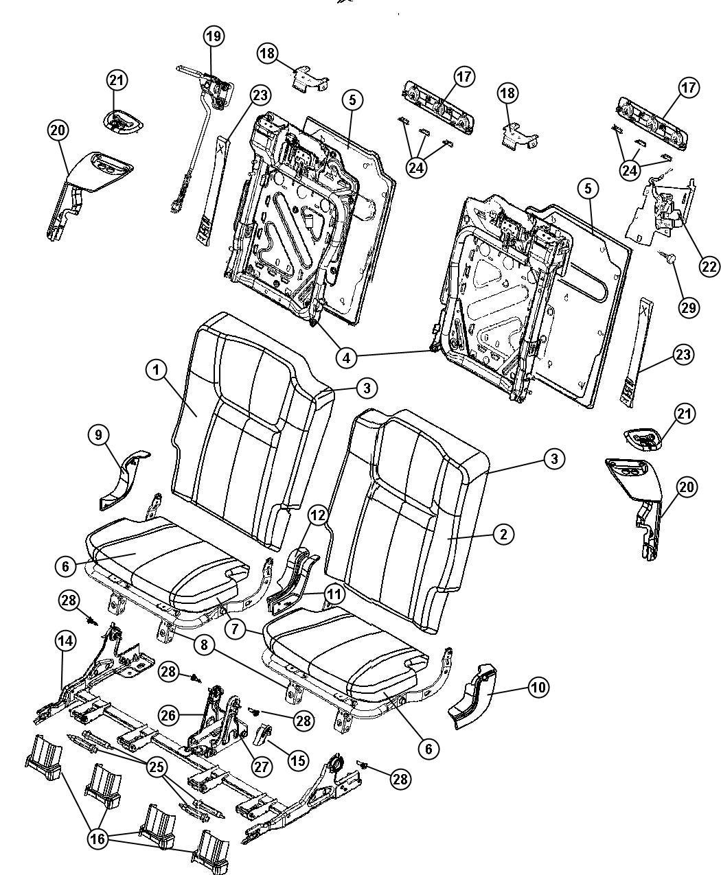 Jeep Commander Cover Rear Seat Back J3 Trim