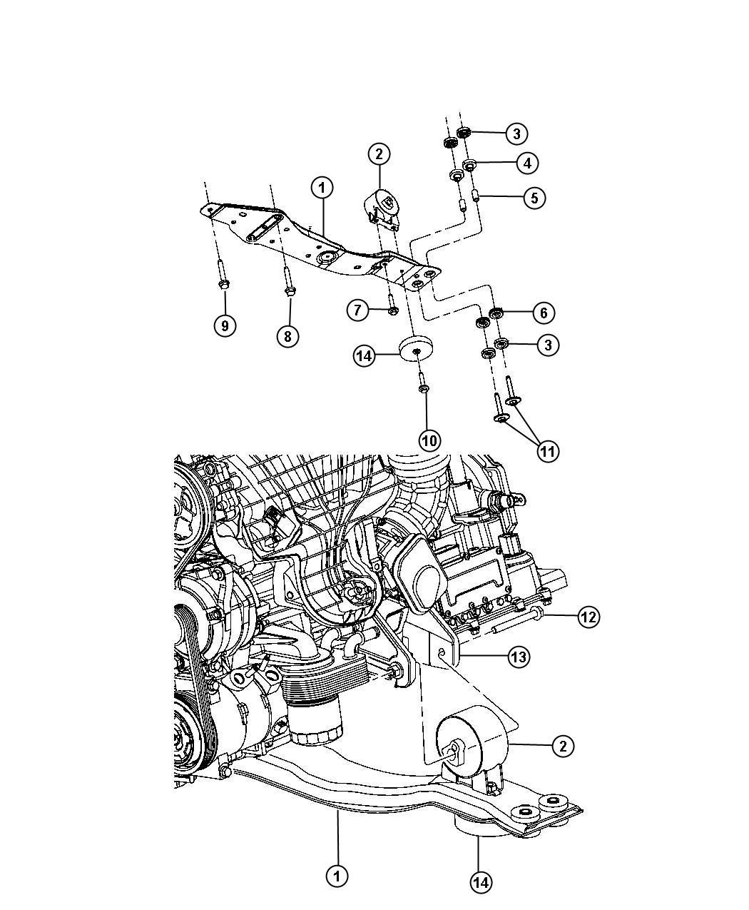 Dodge Avenger Bracket Engine Mount Front Rear 2