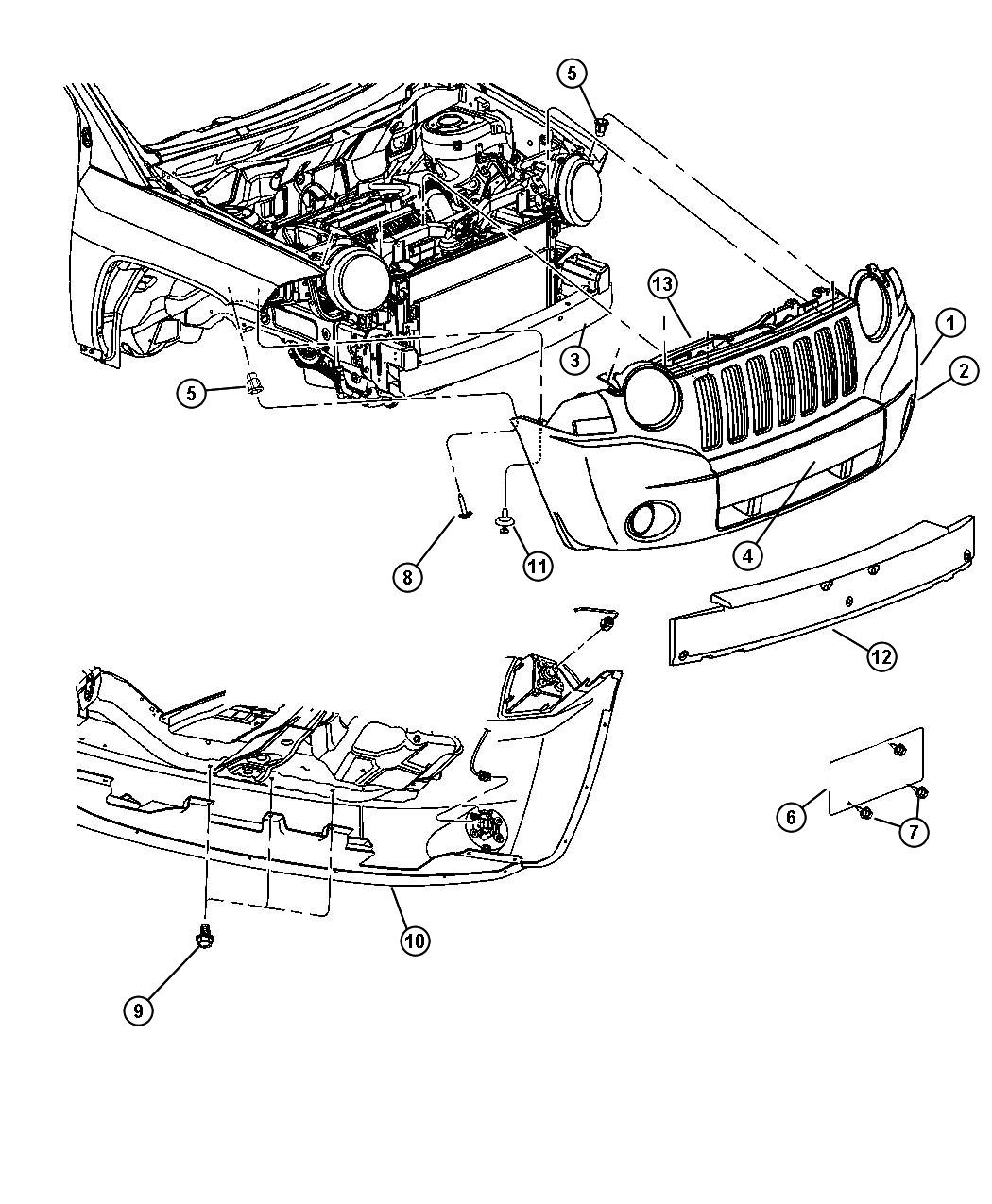 Jeep Patriot Parts Diagram Front Bumper