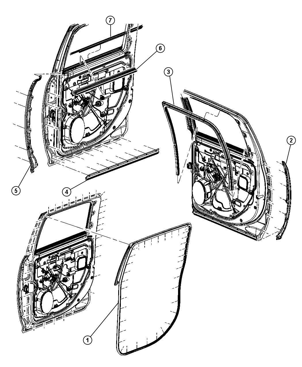 Dodge Ram Seal Rear Door Right