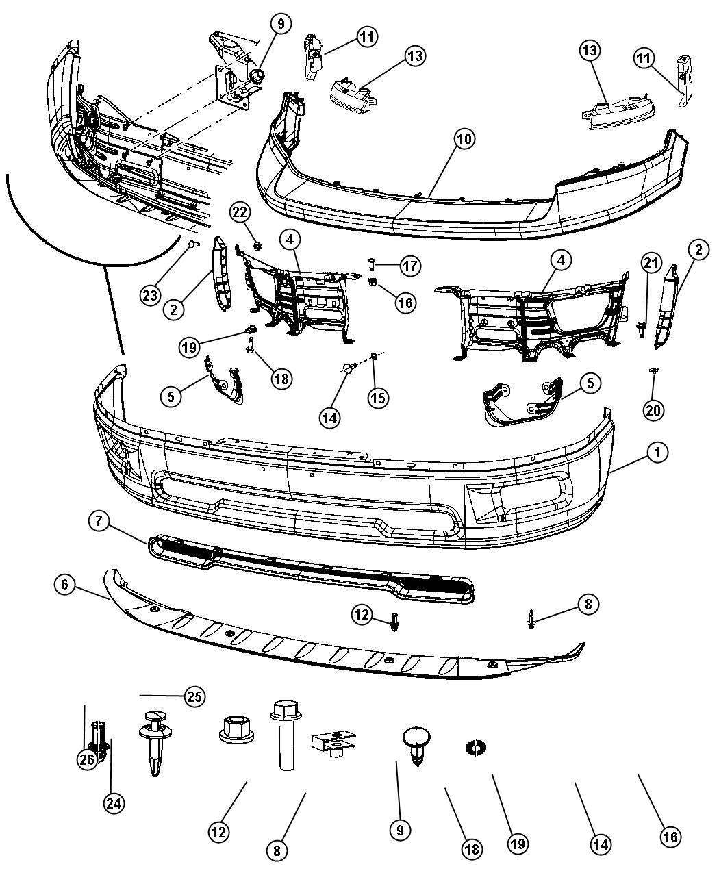 Ram Push Pin Side Bracket Attaching Front Bumper