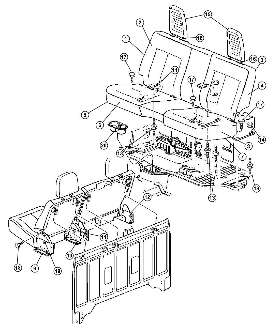 Dodge Dakota Seat Back Rear Trim Cloth Split Bench