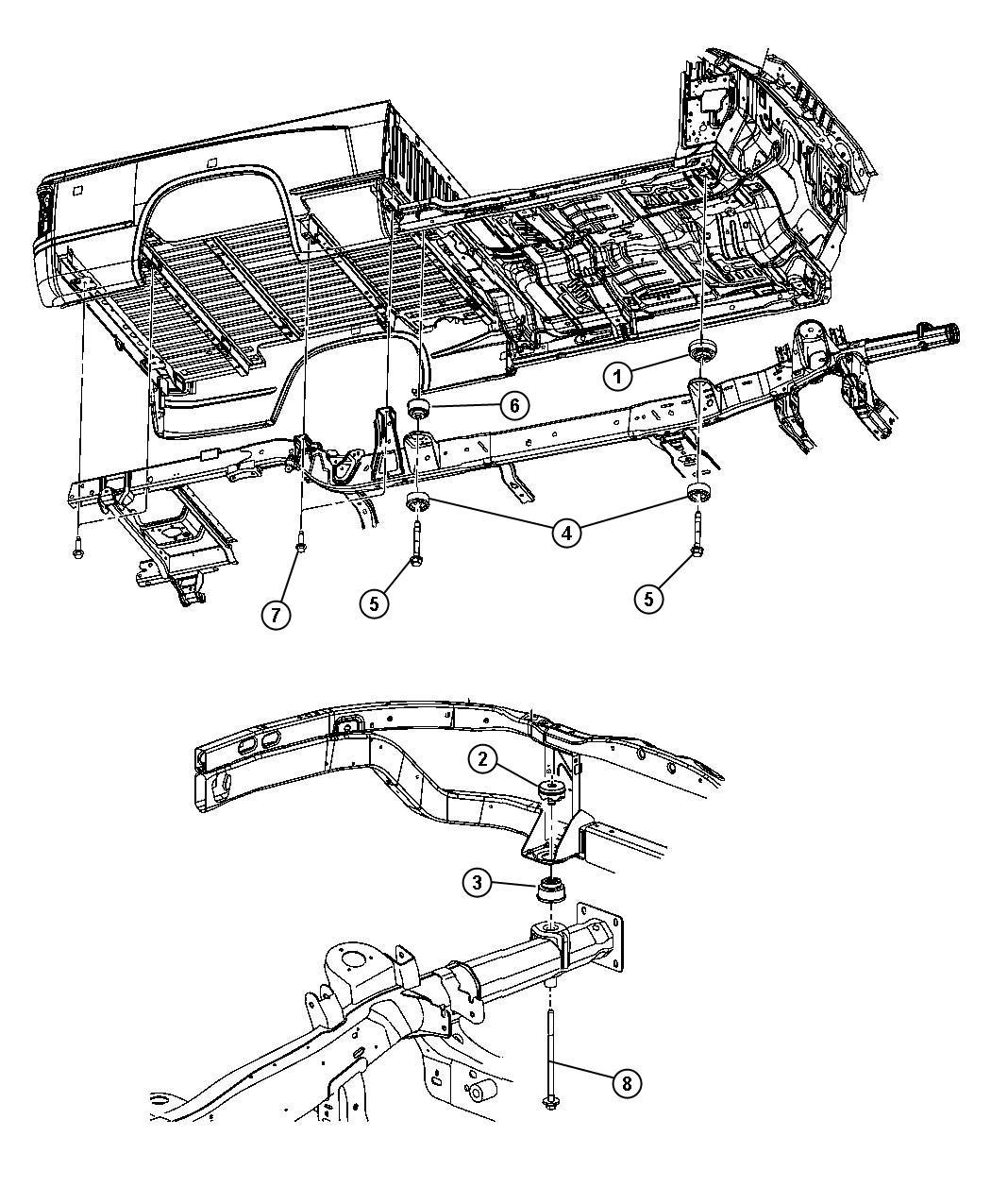 Dodge Dakota Isolator Frame To Body Down Hold