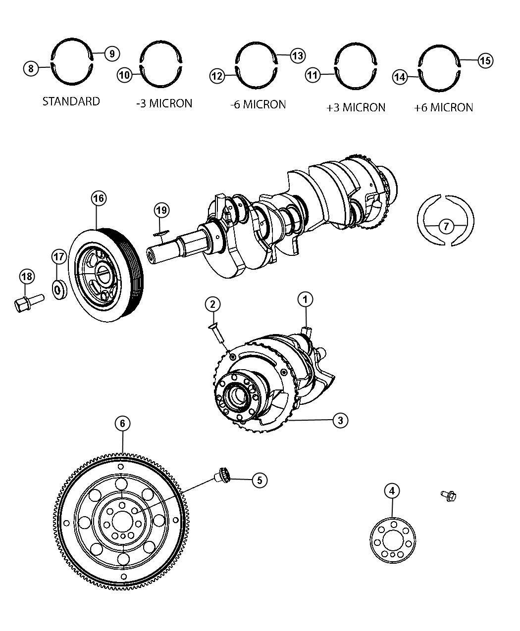 Dodge Express Reluctor Wheel Crankshaft Bearings Damper