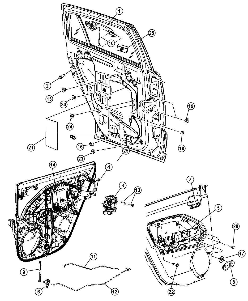 Dodge Caliber Knob And Push Rod Left Door Latch Trim O0