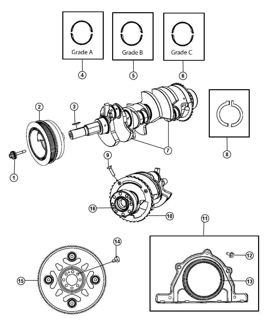Dodge Charger Damper Crankshaft Bearings Flywheel Ezh