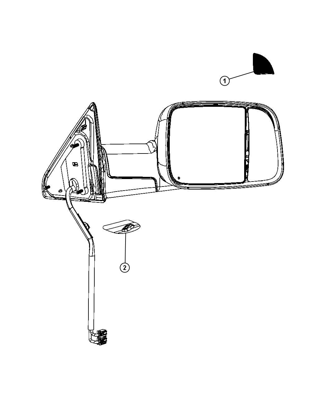 Dodge Ram Lamp Auxiliary Right Mirrors Trailer