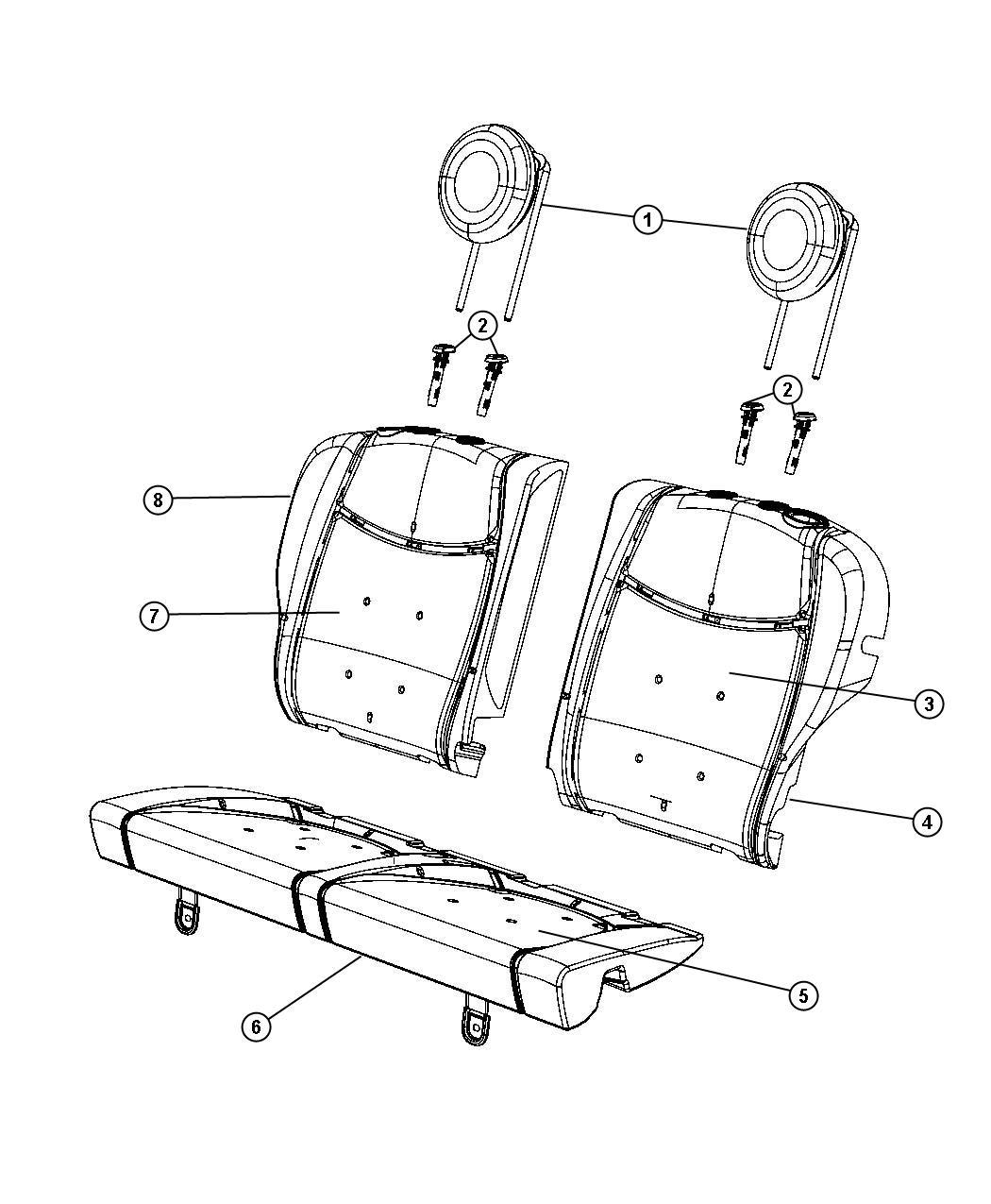 Fiat 500 Cover Rear Seat Back Trim Sport Cloth Bucket