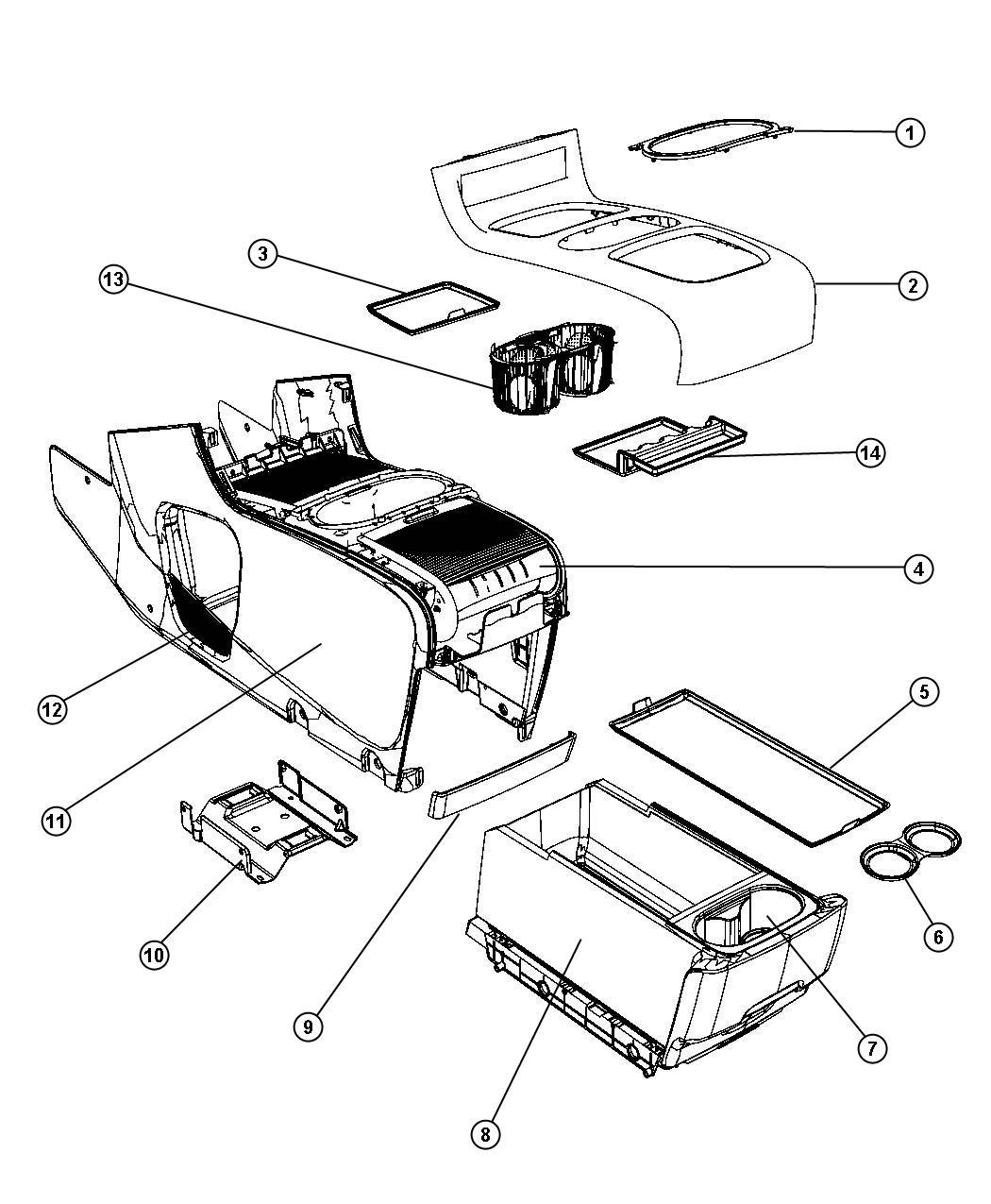 Dodge Grand Caravan Mat Floor Console Trim No