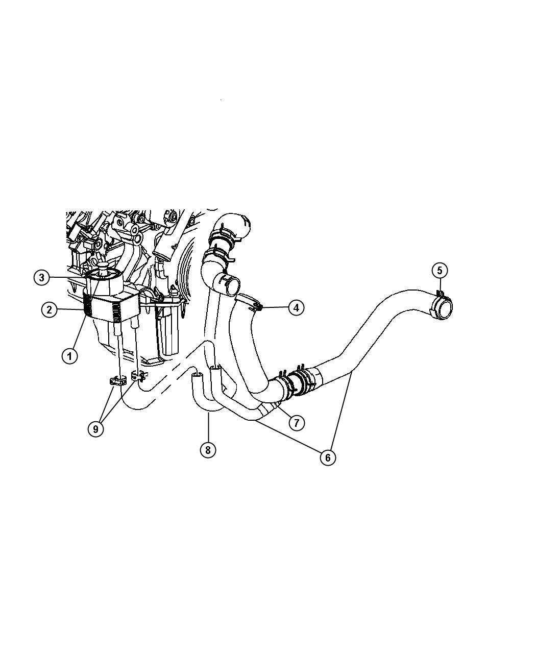 Chrysler 300 Hose Engine Coolant To Oil Cooler