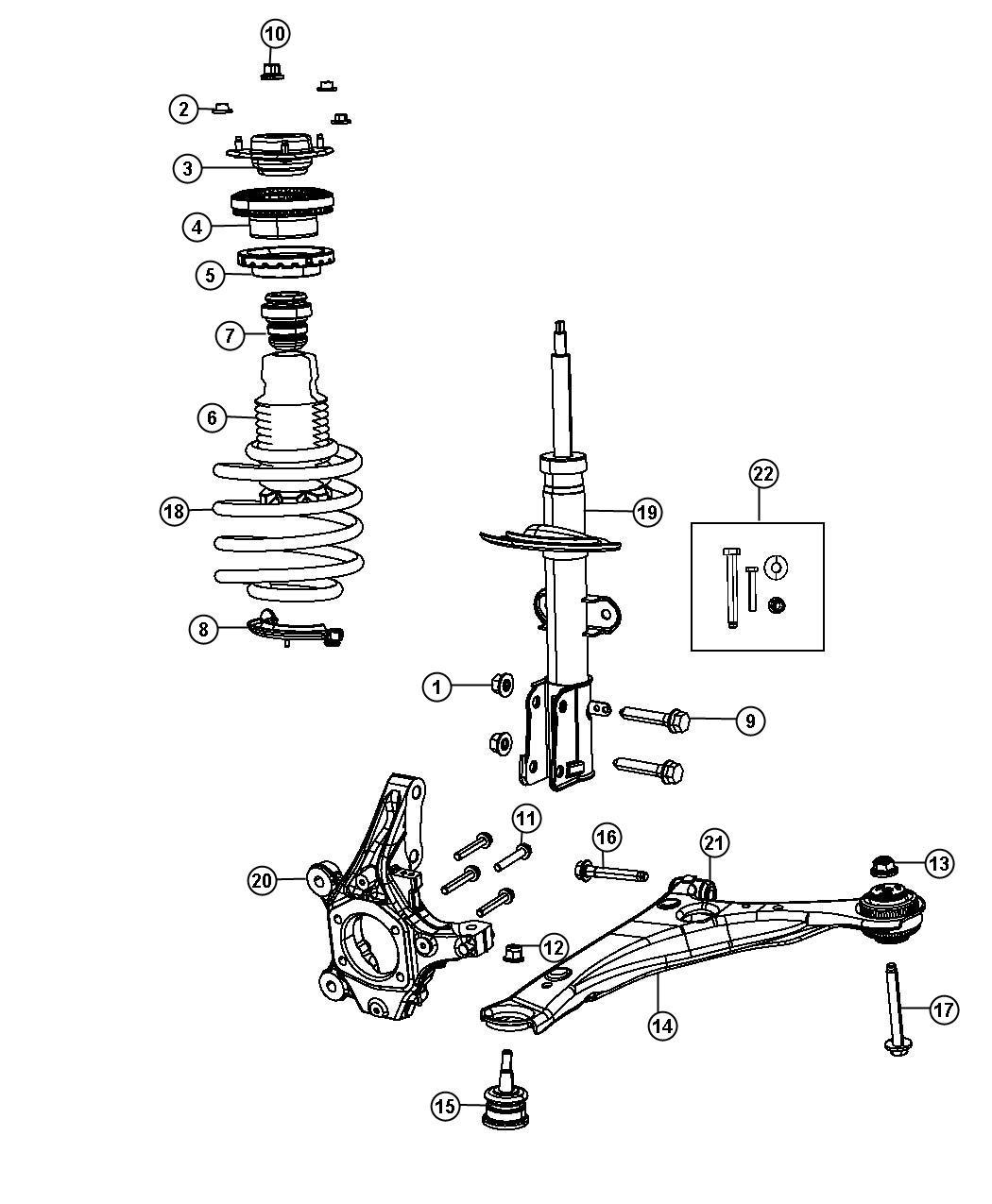 Dodge Bearing Strut Mount Suspension Front Damper