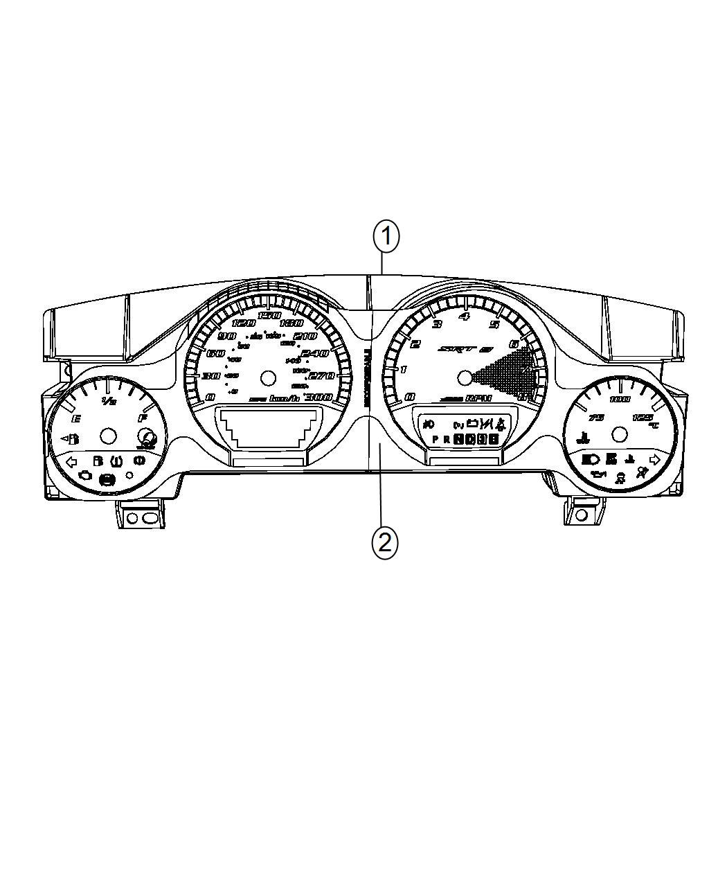 Dodge Challenger Cluster Instrument Panel Speedometer