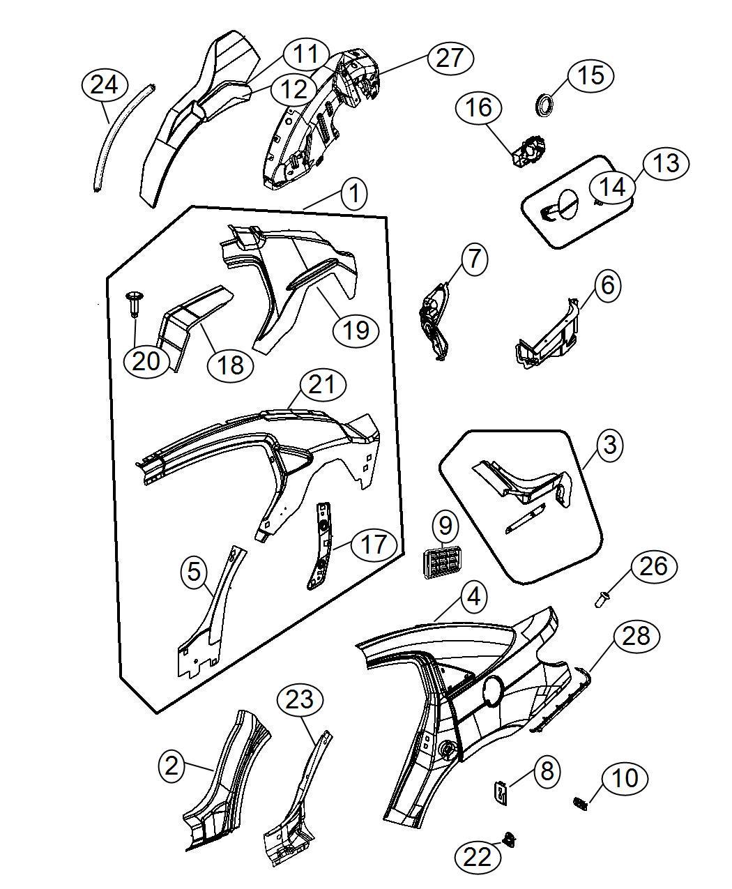 Dodge Avenger Panel Rear Wheelhouse Right Body