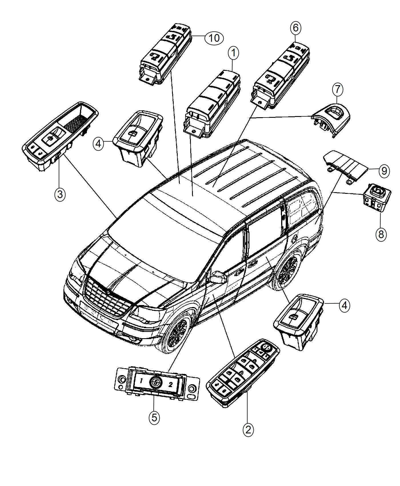Dodge Grand Caravan Switch Power Window Jp5 Comes