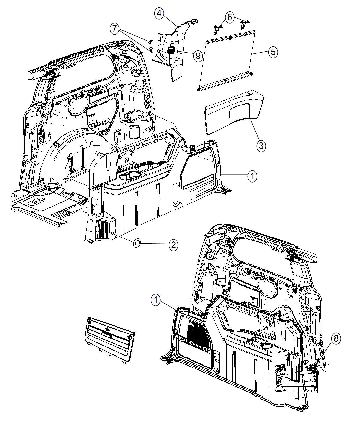 Chrysler Town Amp Country Bolster Quarter Trim Panel