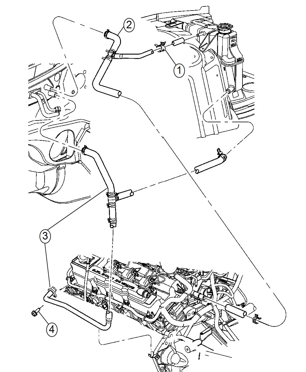 Dodge Magnum Used For Hose And Tube Heater Supply Bottle Coolant Plumbing