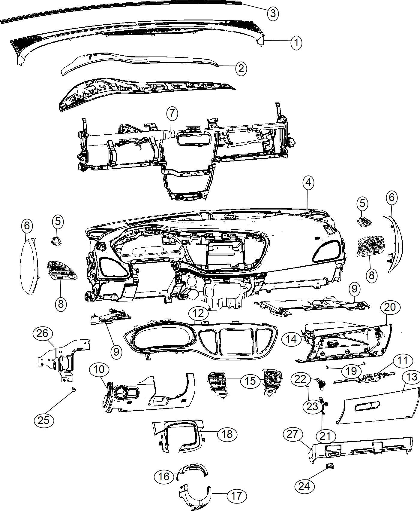 Dodge Dart Gap Hider Steering Column Shroud X9