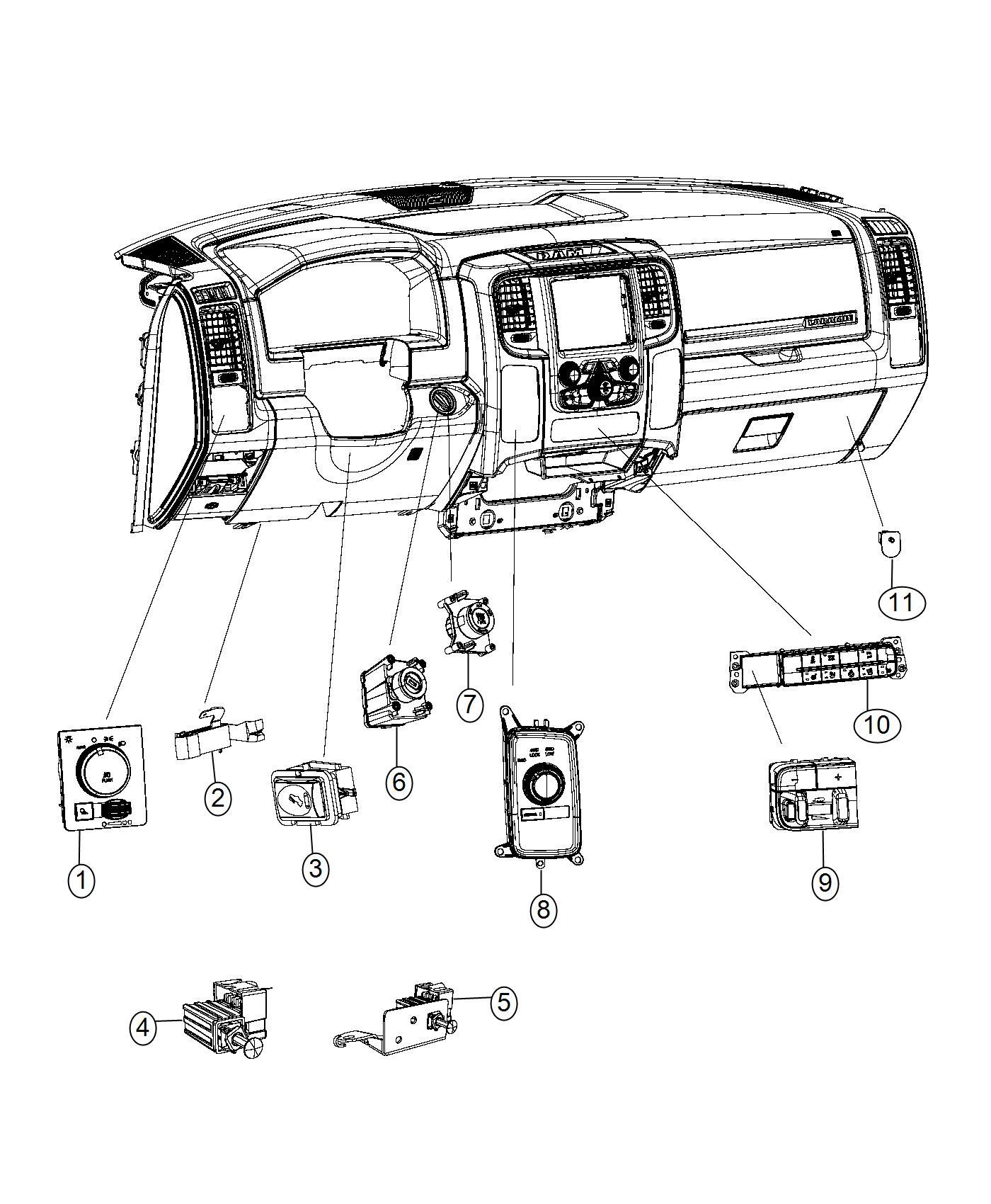 Dodge Ram Switch Instrument Panel Seatsi