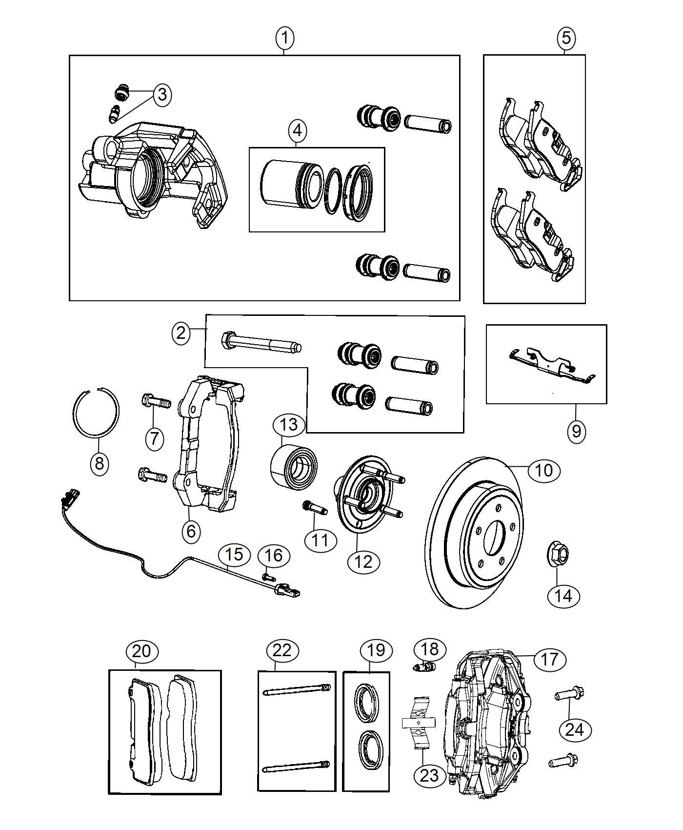 Jeep Grand Cherokee Caliper Assembly Disc Brake Rear Right Brakes Perf Lock