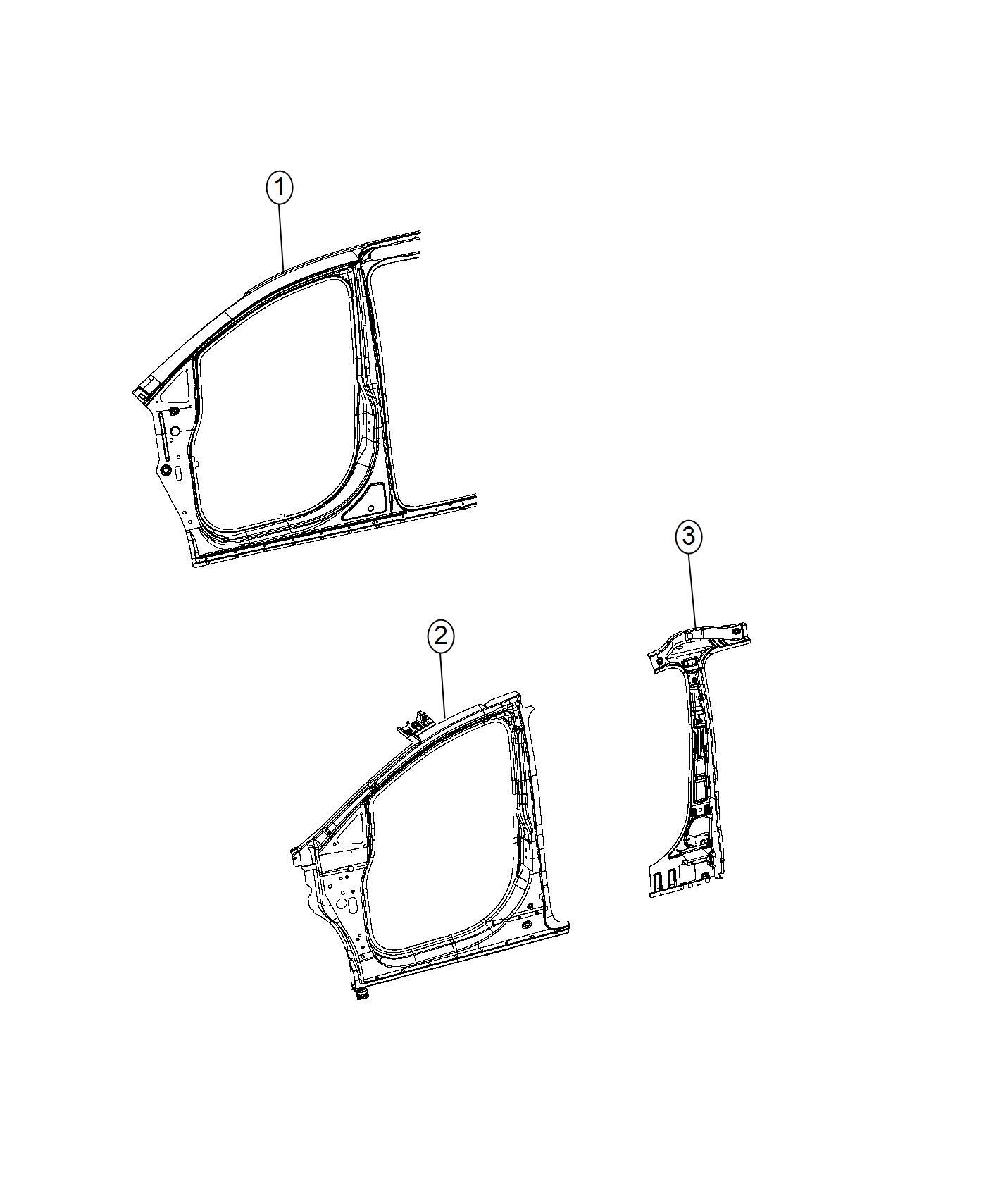 chrysler pacifica l hybrid reinforcement body side aperture front inner  right