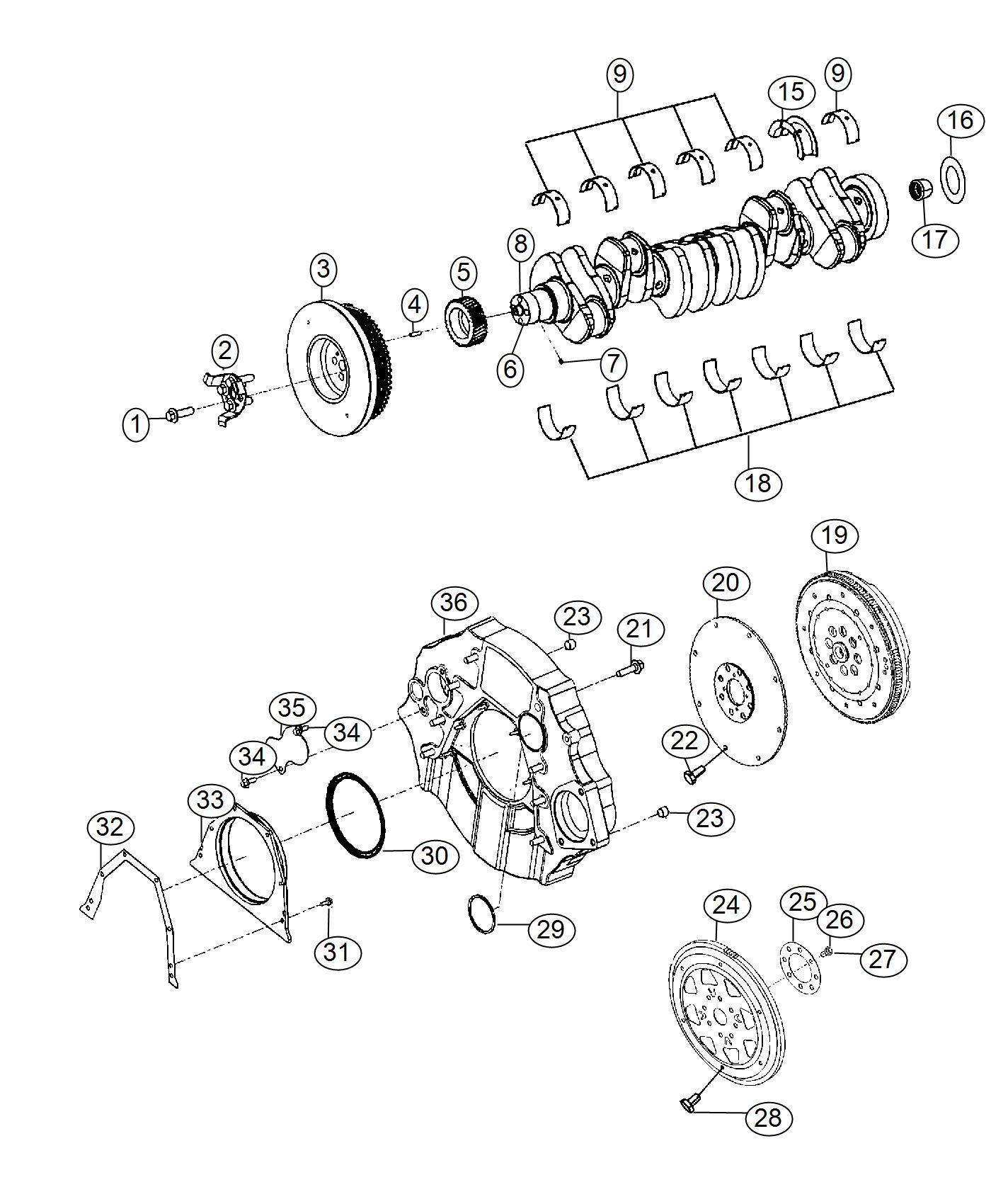 Ram Bearing Kit Crankshaft 75mm Oversize